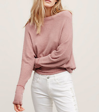 FREE PEOPLE BLUSH LONG SLEEVE OFF SHOULDER ROUNDED HEM MERCURY TOP Sz M