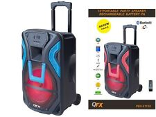 "QFX PBX-61158 15"" Portable/Rechargeable PA Speaker +Bluetooth +USB/SD/FM +LED"