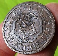 awesome 1601 PIRATE COB SPANISH 4 Maravedis Colonial Coin Felipe PHILIP III