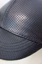 Perforated 100% REAL GENUINE LAMBSKIN LEATHER Baseball Cap Hat Visor Sport NWT