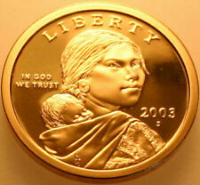 2003-S+P+D ALL THREE COINS PROOF AND BOTH UNCIRCULATED SACAGAWEA GOLDEN DOLLARS