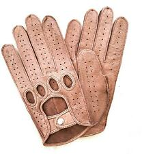 Handmade Men's Driving Brown Pig Leather Gloves