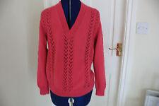 GRANDE Maglione NUOVO HAND Knit Maglione rosa scollo a V modello vintage taglia 14-16