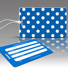 TagCrazy Polka Dot Luggage Tags, Blue & White, Durable Plastic Loops-1 Pack