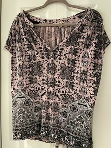 Lucky Brand Pink, Black and White Top, Size L