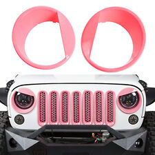 Pink Angry Bird Front Headlight Head Lamp Cover Bezels for 07+ Jeep Wrangler JK