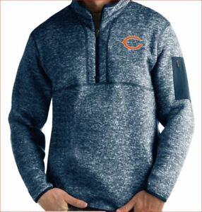 NWT Mens Medium Antigua NFL Team Apparel Chicago Bears 1/4 Zip Jacket Pullover