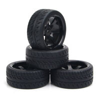 4Pcs 1:10 Flat Drift Tires &Wheel Rims For HPI HSP RC On-Road Speed Car 12mm Hex