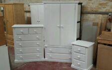 AVON FURNITURE 3 PIECE BEDROOM SET WARDROBE CHEST AND BEDSIDE WHITE