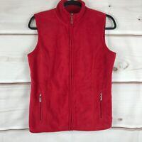 Karen Scott Sport Zip Pockets Fleece Vest Full Zip Womens Size XS Solid Red