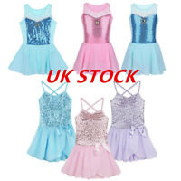 UK_Kids Girls Leotard Dress Ballet Dance Gymnastic Tutu Skirt Dancewear Costume