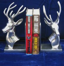 "Stag Bookends Polished Aluminum 10"" High Desk Top Decor"