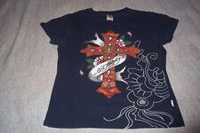 Ed Hardy Top Hollywood Cross T-Shirt Youth Girls Juniors Medium