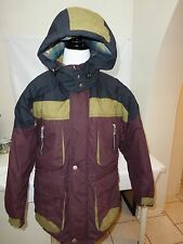Raw Jacket Snow Ski Winter Coat Hooded Plaid Burgandy Green Blk Large Quilted