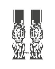 Truck Bed Band S19 Flaming Skull Chains Vinyl Decal Sticker side body stripes