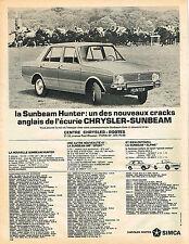 PUBLICITE ADVERTISING   1965  SIMCA  CHRYSLER  SUNBEAM HUNTER