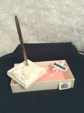 BEVERLY CLARK COLLECTION Ivory Tea Rose Pen Holder w/Goldtone Pen Wedding Bridal