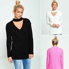 WOMENS LADIES CASUAL BASIC CABLE KNIT CHOKER V NECK JUMPER KNITTED TOP 8 24