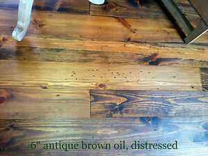 """8"""" prefinished distressed wide plank plank pine flooring, heart pine"""
