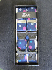 Taggs 100% silk braces blue with spot pattern pattern, leather end .
