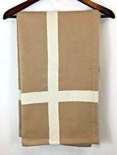 "Williams Sonoma Cashmere & Wool Tan Sand Equestrian Throw Blanket 50x70"" NEW"