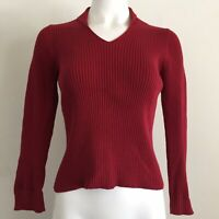 J.Jill Womens Top Petite S SP Solid Red Ribbed Knit Sweater Career Blouse