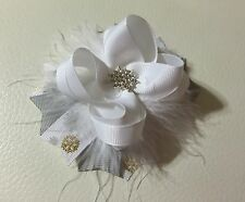 Handmade White /Grey Christmas Snowflakes Stacked Boutique Hair Bows