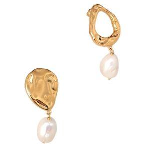 Z&Y Baroque Asymmetric Gold Earrings with Pearl