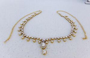 Ethnic Women Hip Waist Belt Bellydance Chain Golden Cz Indian Kamr Bandh Jewelry