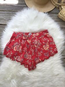 Billabong Shorts Waves All Day Short Pull On Red Mini Women's Size S