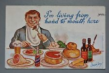 R&L Postcard: Comic, Stocker Shaw WB934, Living Hand to Mouth, Beer Food