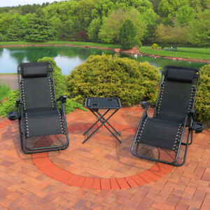 Sunnydaze Zero Gravity Reclining Lounge Chairs Set of 2 with Side Table - Black