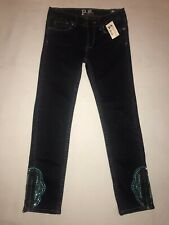 P.S.Aeropostale Legging-Denim-Girl Sz8-Cotton Bl-Dk Blue-Adj Waist-zippers/Emb.
