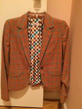 Penguin by Munsingwear orange turquoise short jacket leather button size NWOT