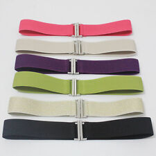 Women Elastic Waist Belt Stretch Waistband Cinch Thin Corset 4CM Solid Color New