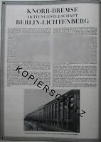Eisenbahn Knorr Bremse 2 Seiten Werbeanzeige anno 1926 Reklame Werbung ad