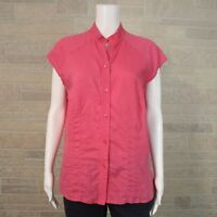 Coldwater Creek Misses MEDIUM Cap Sleeve Button Up Shirt Bright Pink Linen