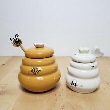 Mini Beehive Shaped Honey Pot Jar Lot Bee Hive Dipper Heart Dipper