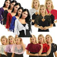 Womens Lace Shrug Shawls Wraps Bolero Cropped Top Cardigan T Shirts Blouse Party