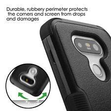 For LG G5 - HARD&SOFT RUBBER HYBRID ARMOR SKIN PHONE CASE COVER BLACK KICKSTAND