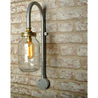 New Industrial Jar Wall Light Swan Neck Vintage Lighting Sconce works with led