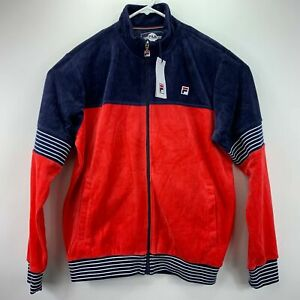 Fila Mens Marcus Velour Track Jacket Navy Red M