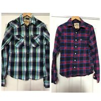 x2 Hollister Shirts Mens Size Medium M Checked Long Sleeve Western Casual (C453)