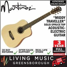 """NEW Martinez """"Middy Traveller"""" Solid Spruce Top Acoustic-Electric Travel Guitar"""