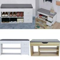 2 Tier Shoe Storage Rack Bench Shelf Rack Stool Organizer Entryway with 2 Drawer