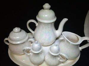 Vintage Lusterware Tea Set 8pcs With Tray Hand Painted Opalescence Signed 1974