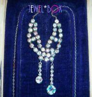 ANTIQUE ART DECO Czech Open Back Rainbow Iris Crystal Vintage Lavaliere NECKLACE