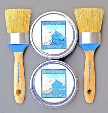 Chalk Paint Wax Kit/w 2 Med Wax Brushes  & 2 8 oz Wax Tins (1) Clear & (1) Dark