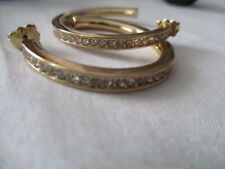 "AVON Modern Glamour Hoop Earrings- Goldtone with Rhinestone Accents 1 1/2"" D"