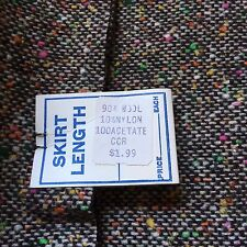 "Vintage Wool Skirt Length Lined Fabric Brown Off-White Speckled Tweed 31""X60"""